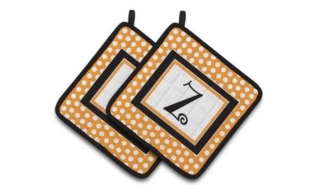 Carolines Treasures CJ1033-ZPTHD Monogram Initial Z Orange Polkadots Pair of Pot photo