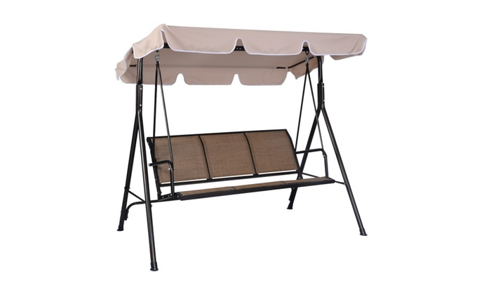 Costway: 3 Person Outdoor Patio Swing Canopy Awning Yard Furniture