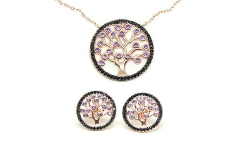 Pulsera, anillo, pendientes o collar de ley 925 mm y chapados en oro rosa 18K