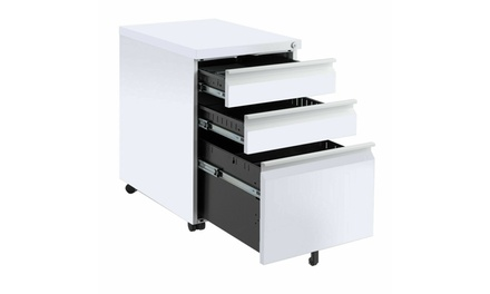 Costway White 3 Drawers Rolling Mobile File Pedestal Storage Cabinet