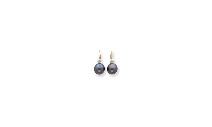 Goldia: 14k Yellow Gold 7mm Black Fw Cultured Pearl Diamond Leverback Earrings