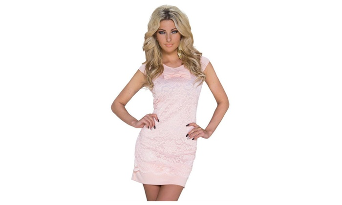 Women's Pink Floral Lace Dolly Bow Mini Dress - Pink / one size