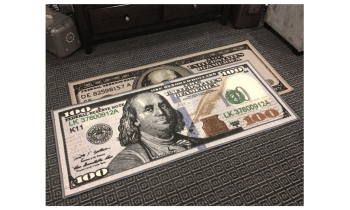 22 Quot X53 Quot Hundred Dollar Bill Accent Rug Groupon