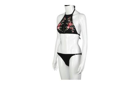 Push-Up Padded Swimsuit Bwach Beachwear Embroidery Bikini Set Swimwear