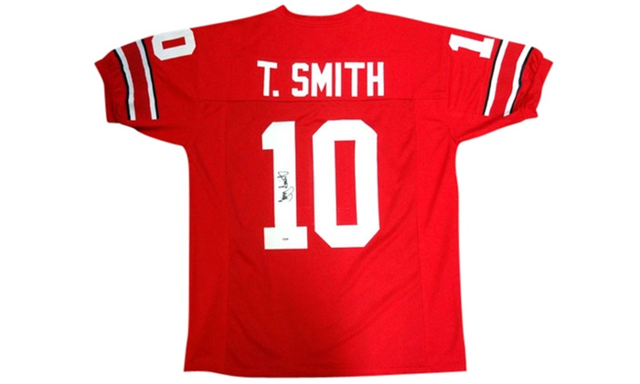 sale retailer 397cb 50c06 Troy Smith Autographed Red Custom Jersey - Ohio State Buckeyes