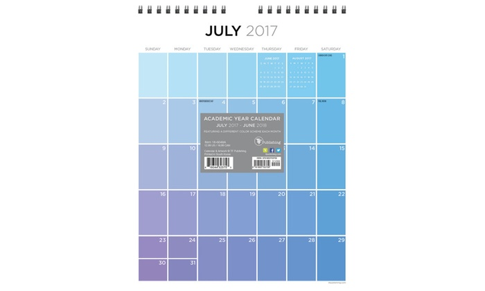 2018 academic year for the love of color monthly wall calendar groupon