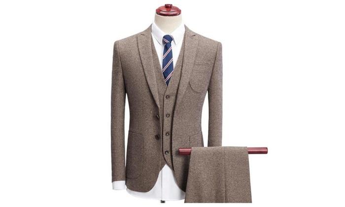 Men s Large Size Casual Suit Set Solid Color Suit Three-Piece Suit ... 1fb30716c216