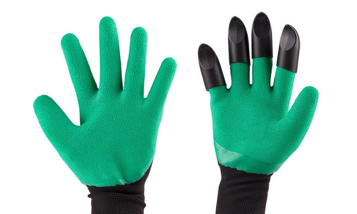 Garden Claw Gloves with Digging and Planting Claws on BOTH hands Green Travel