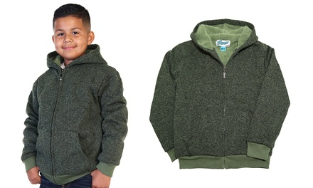 Boys' Sherpa Hoodie Jacket with Pockets