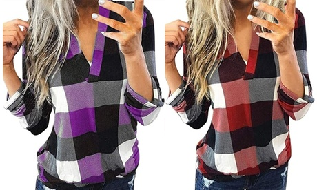Women's Plaid Shirts V Neck Rolled Long Sleeve Tunic Tops Casual Fall T-shirts