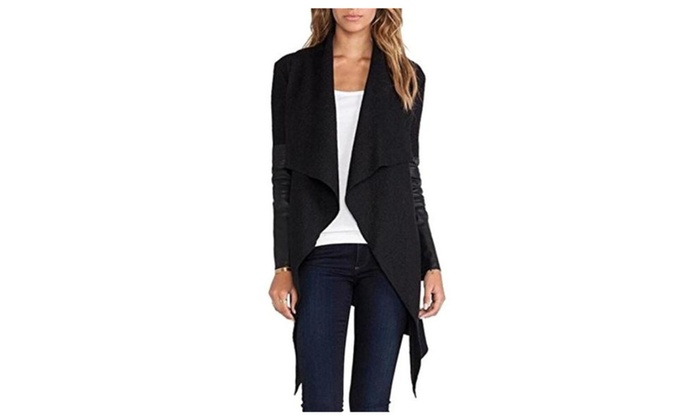 Womens Irregular Woolen PU Leather Splice Cardigan Jacket Coats