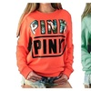 Women's Mix Color Long Sleeves Pullover Letters Printed Sweatshirt