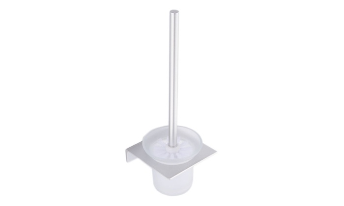 Eyekepper: Nail-free waterproof zinc base toilet brush and holder with glass cup