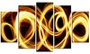 Gold Shock Abstract Metal Wall Art 60x32 - 5 Panels