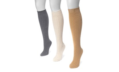 Image Placeholder For Muk Luks Womens Cable Knee High Socks 3 Pairs