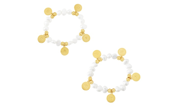 394a0e1101d01 Stainless Steel Pearl Bead Roman Number Charms Stretch Bracelet