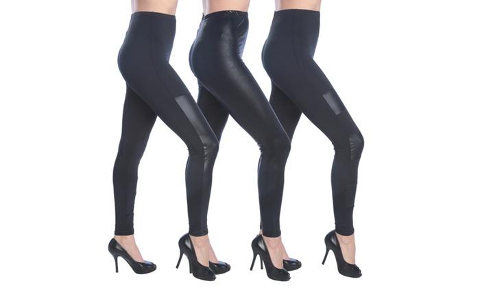 Women's Black Faux Leather Leggings 3-Pack L/XL