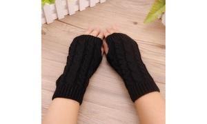 Long Fingerless Knit Gloves (2-Pairs)