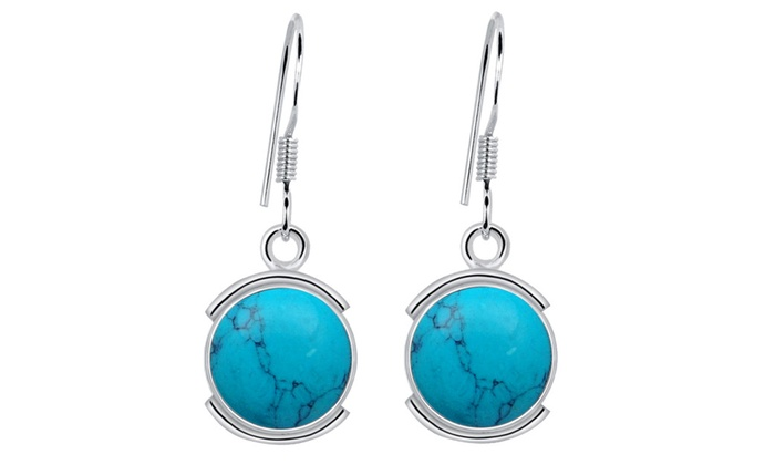Orchid Jewelry Mfg Inc: Orchid Jewelry 8 1/5 Carat Turquoise 925 Silver Birthstone Earrings