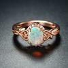 18K Rose Gold White Opal Filigree Ring