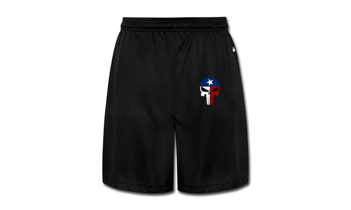 SY Factory: Texas Flag Skull Shorts Sweatpants Workout Pants For Men