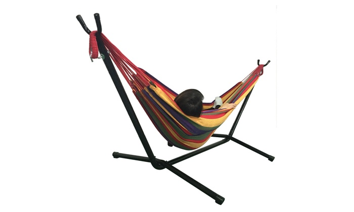 2 Person Portable Hammock Chair W Stand 3 Color Groupon