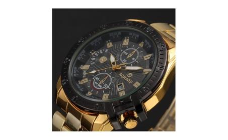 Luxury Mens Black Dial Gold Date Quartz Analog Sport Wrist Watch faf83317-bfe8-42c8-a15c-273a37e9974a
