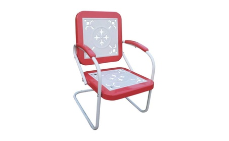 4D Concepts 71540 Metal Chair Retro - Red Coral and white metal bc07e3c8-d45e-4d62-8b92-0ca57987a9a3