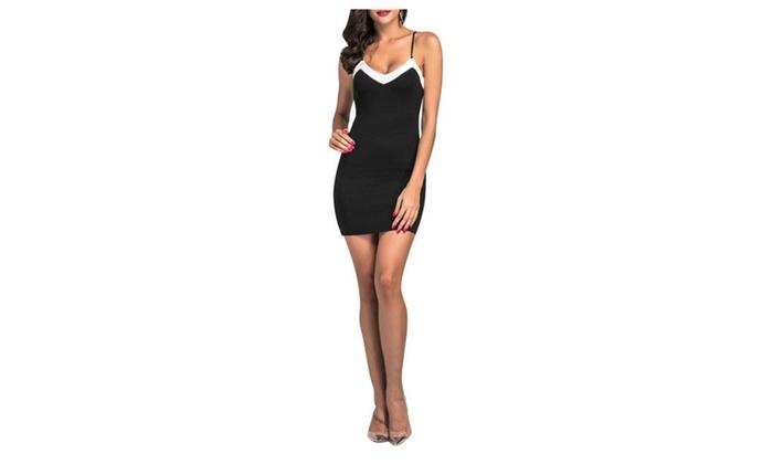 Women Solid Sleeveless Slip Elastic Formal Mini Slim Dress