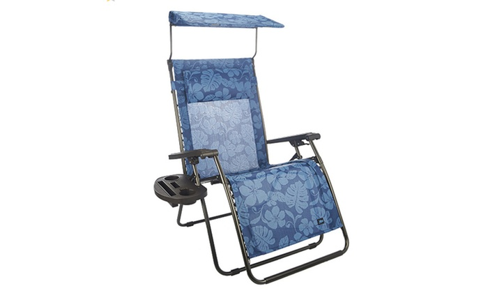 ... Bliss Hammocks Deluxe XL Gravity Free Recliner With Canopy U0026 Tray    Blue Flowers ...