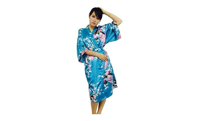 Jana Jira Kimono Women's Soft  Robe Peacock Bridesmaids sleeping wear