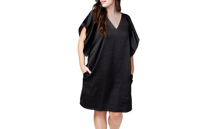 Women\'s Black Flutter Sleeve Plus Size Shift Dress