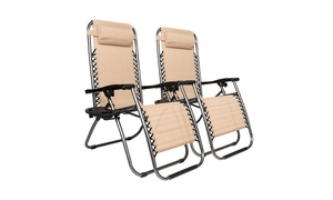 2 Pack Folding Patio Reclining Zero Gravity Lounge Chairs 3 Colors