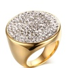 Luxury Crystal Big Statement Paved Stainless Steel Ring for Women