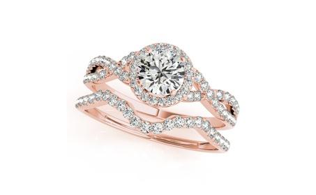 0.50 Carat Halo Daimond Engagement Bridal Ring Set 14K Solid Gold