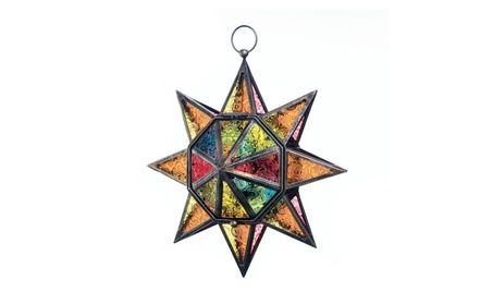 Star Burst Stained Glass and Iron Hanging Candle Lantern e94f7cc6-dce7-4cf3-a35a-b57b9bf1790b