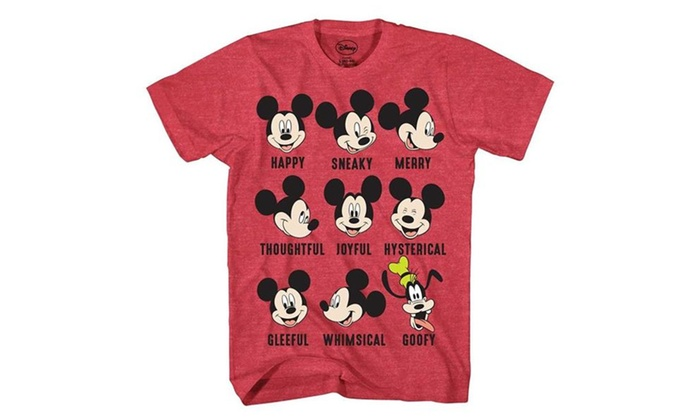e3d7877aefcc5 Disney Mickey Mouse Goofy Expressions Mood Mens T-Shirt