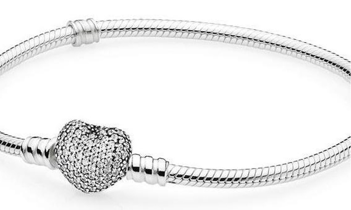 39016370d PANDORA Moments Silver Bracelet with Pave Heart Clasp - 590727CZ-21 ...
