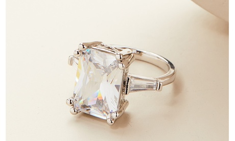 8.00 CT Emerald Cut Crystal Ring Made With Crystals From Swarovski