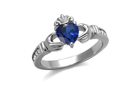 Women's Heart Shape London Blue Cz Stainless Steel Irish Claddagh Ring 1acf2f11-9e24-47e0-84e4-50cb5703a044