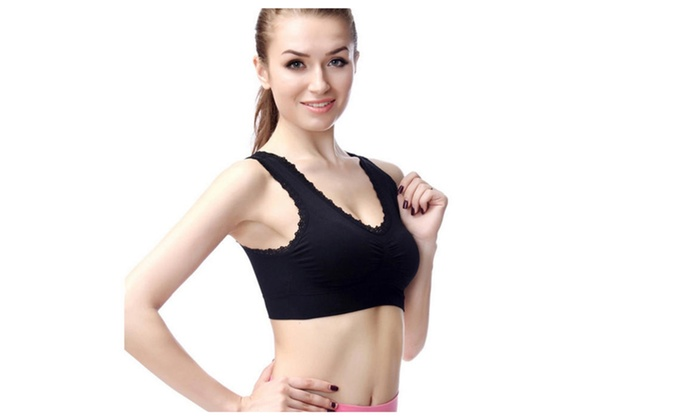 Women's Lace Pullover Padded U-back Wireless Sports Bra