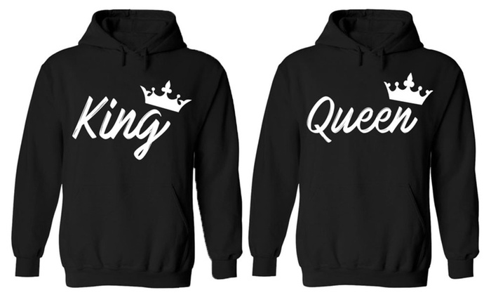 Handwrite King And Queen Designs – Couples Two Black Hoodies