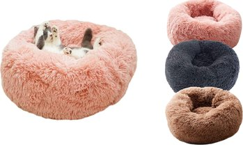 Pet Dog Cat Kennel Calming Sleeping Bed Round Nest Warm Soft Plush