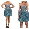 Ruched 3D Irridescent Short Blue Evening Dress