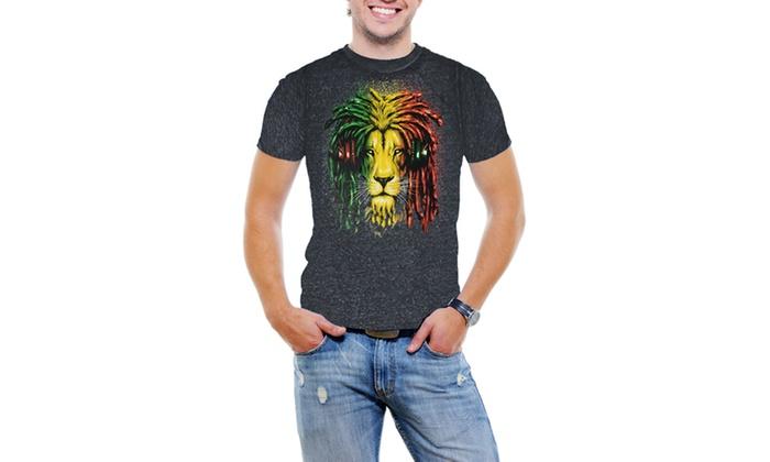 Jamica Lion Rastra Men Acid Wash T-Shirt Soft Cotton Short Sleeve Tee