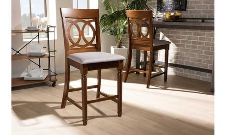 Violet Upholstered Walnut Brown Wood 2-Piece Pub Chair Set