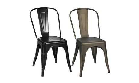 Costway Set of 4 Tolix Style Dining Chair Stackable Bistro Cafe Metal Stool