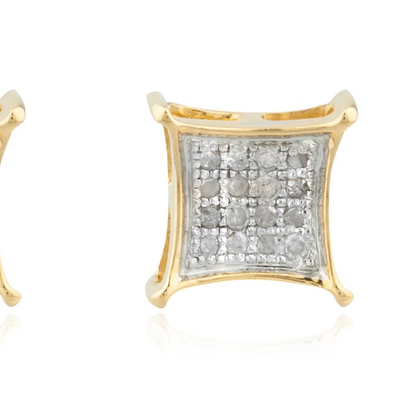 358a4b388 Men's 10K Gold .10Ct Diamond Stud Earrings 5.2mm Square Kite Pave | Groupon
