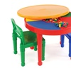 Kids 2-in-1 Plastic LEGO-Compatible Activity Table and 2 Chairs Set,