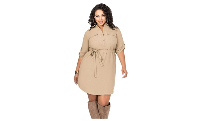Womens Khaki Plus Size Belted Textured Shirt Dress Groupon
